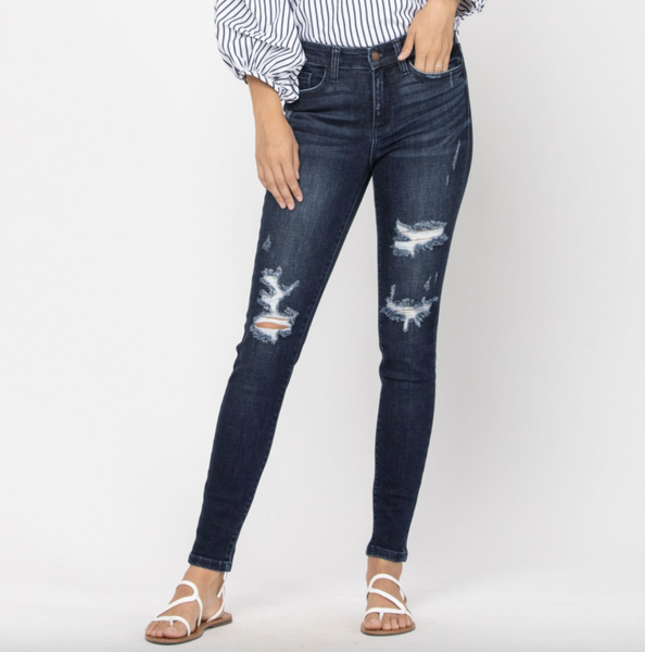 Judy Blue Dark Wash Mid Rise Destroyed Skinny Jeans