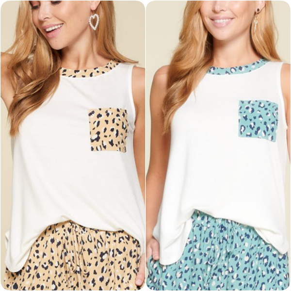 Sleeveless Solid Top with Leopard Trim and Pocket