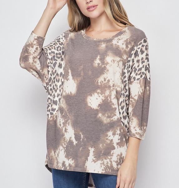 3/4 Sleeve Wild West Tie Dye and Leopard Print Top