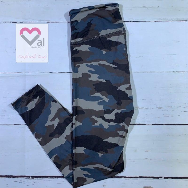 Full Length Camo Print Leggings with Yoga Band