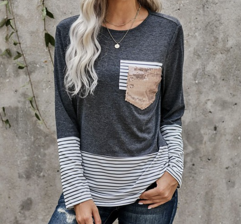 Long Sleeve Stripe & Solid Top with Sequin Pocket Detail