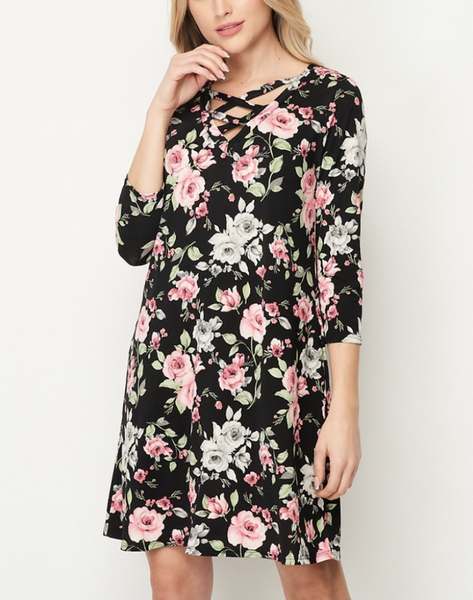 3/4 Sleeve Rose Floral Dress with Criss Cross Detail