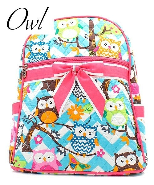 Quilted Patterned Backpack with Bow Detail