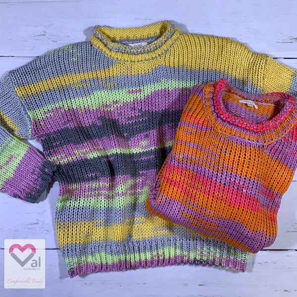 Long Sleeve Multicolored Print Knit Sweater Top
