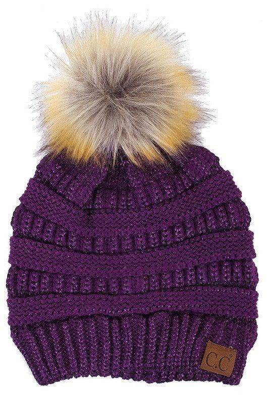 CC Solid Metallic PomPom Beanie Hat
