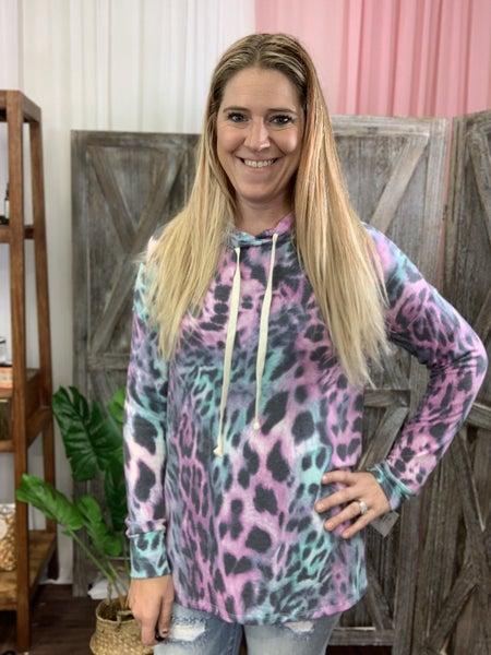 Long Sleeve Jewel Colored Leopard Print Hoodie