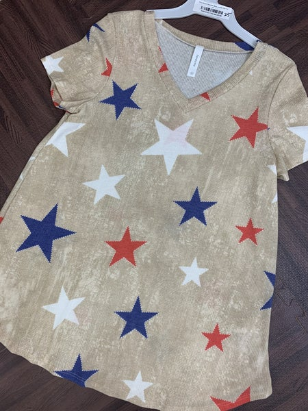 Short Sleeve V Neck Red, White, and Blue Star Top