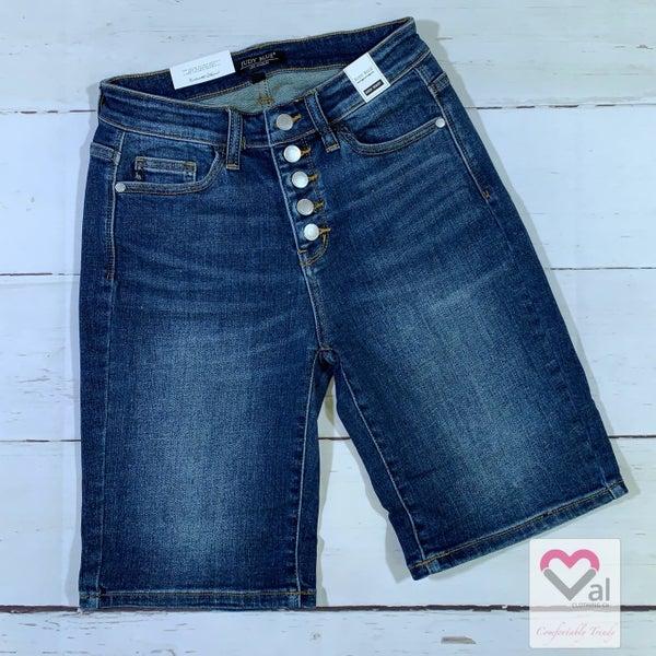 Judy Blue Button Fly Dark Wash Bermuda Shorts