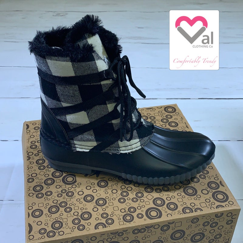 White and Black Plaid Tie Duck Boots with Faux Fur Trim and Inside