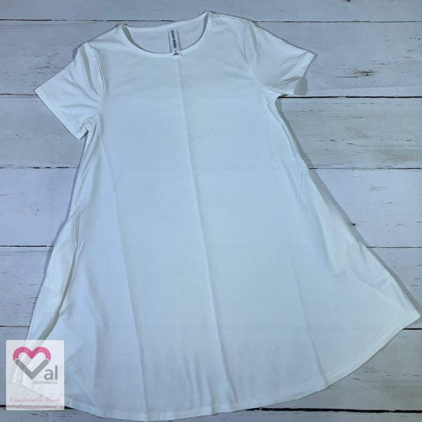 Short Sleeve Solid Swing Tunic Top