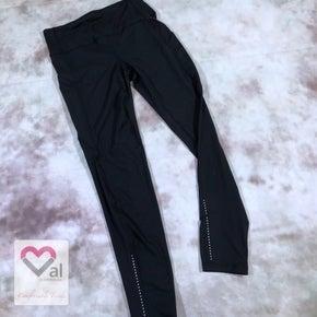 Solid Black Pocket Leggings with Reflector Detail