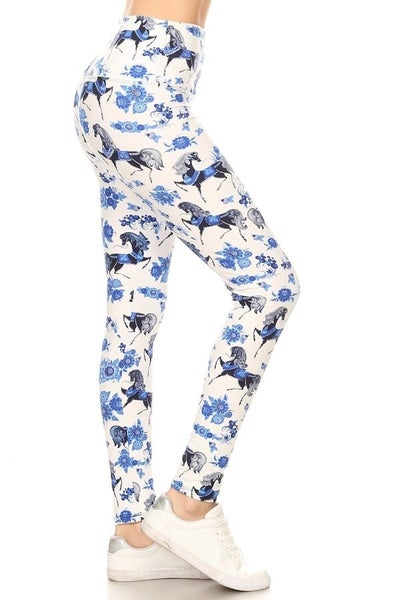 Full Length Abstract Horse Printed Leggings