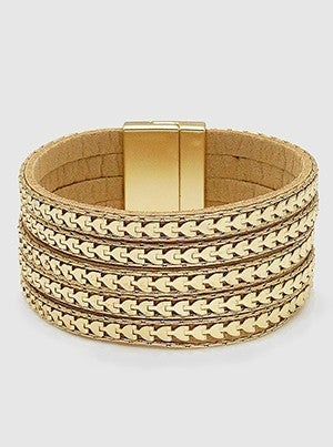 Leatherette Metal Layered Magnetic Clasp Bracelet
