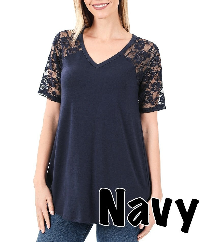Short Lace Sleeve Solid V Neck Top