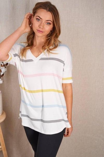 Short Sleeve V Neck Summer Stripe Print Top
