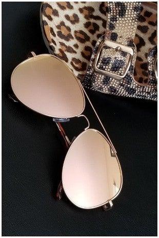 Pink Gold Classic Aviator Sunglasses