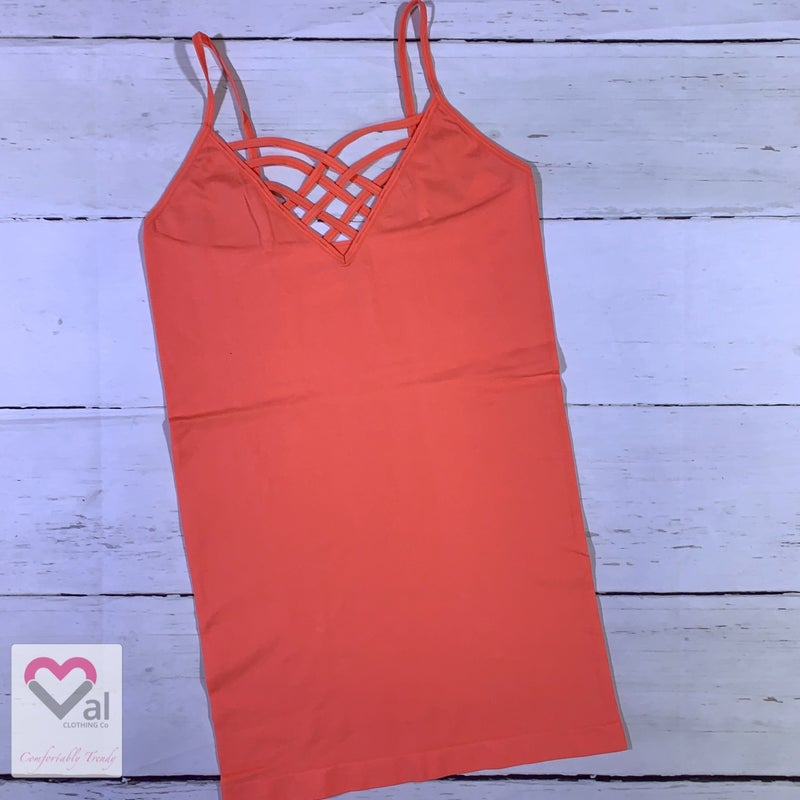 Seamless Lattice Front Solid Cami with Adjustable Straps