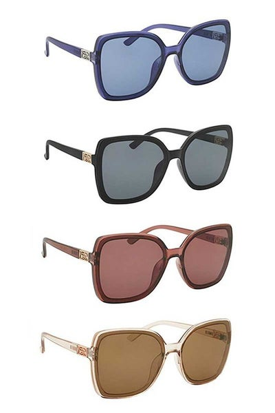 Square Fashion Sunglasses with Side Metal Detail