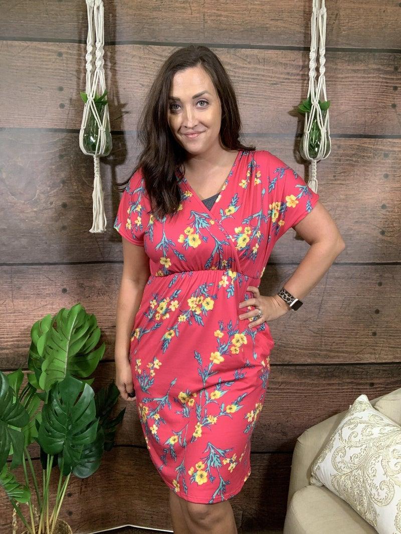 Short Sleeve Floral Overlap V Neck Dress with Pockets