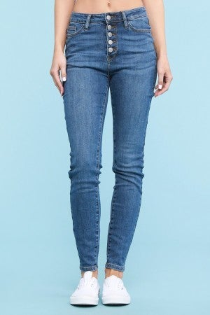 Judy Blue High Rise Button Fly Skinny Jeans