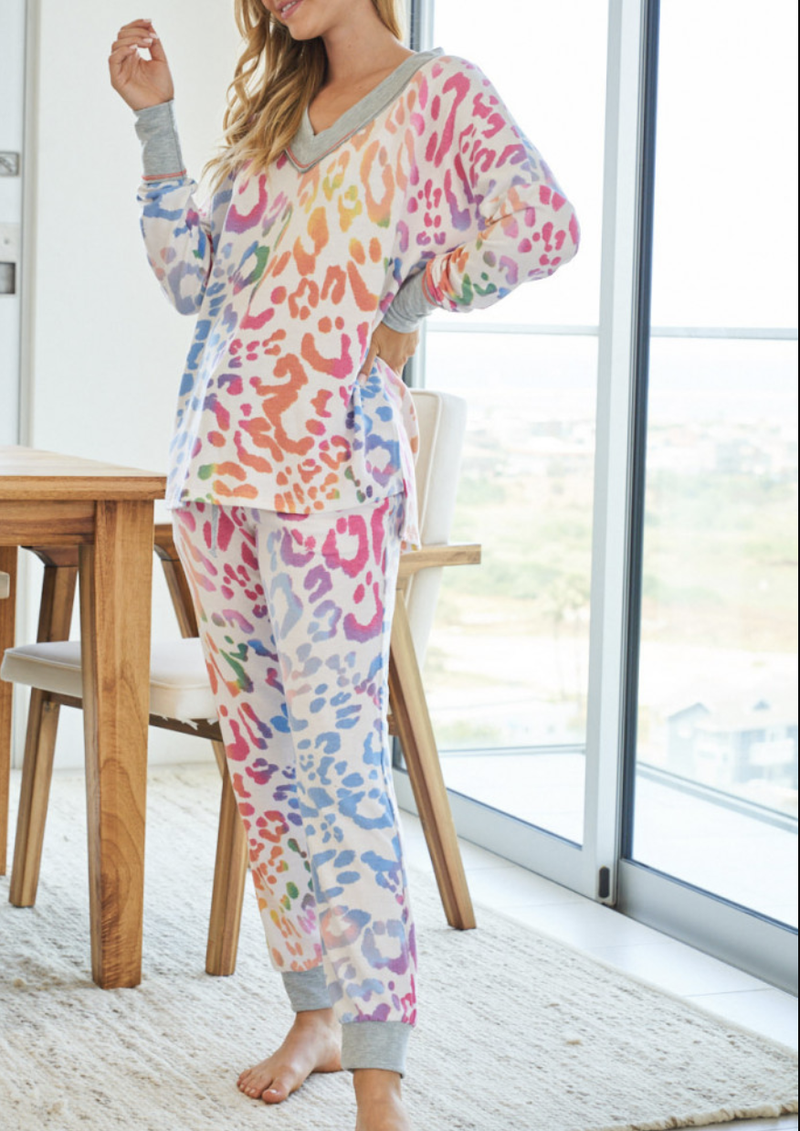 Full Length Lounge Jogger in Rainbow Leopard Print