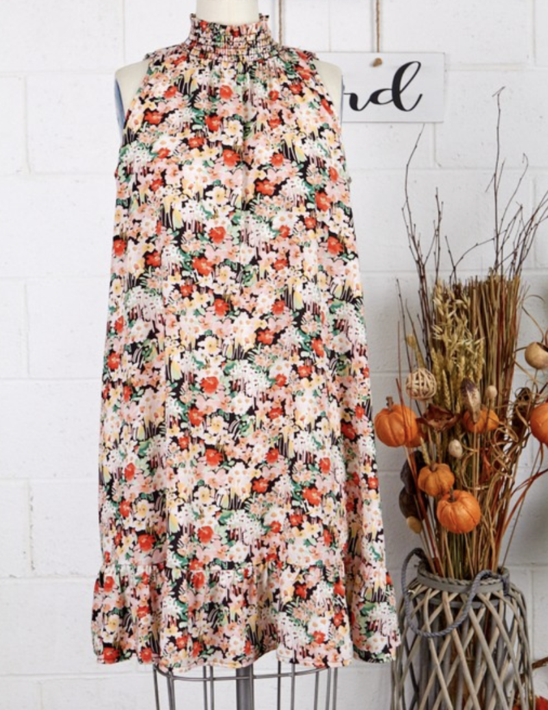 Sleeveless Mock Neck Wildflower Print Dress