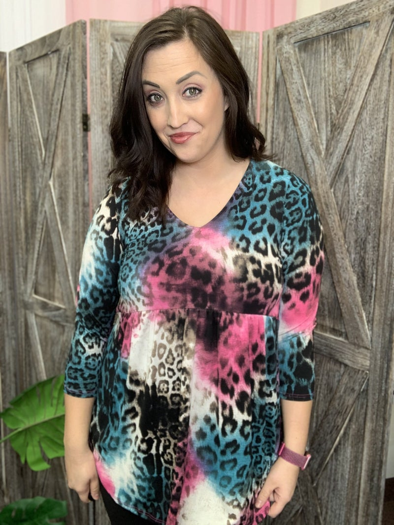 3/4 Sleeve V Neck Ombre Leopard Babydoll Top