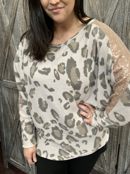 Long Dolman Sleeve Leopard Top with Sequin Detail