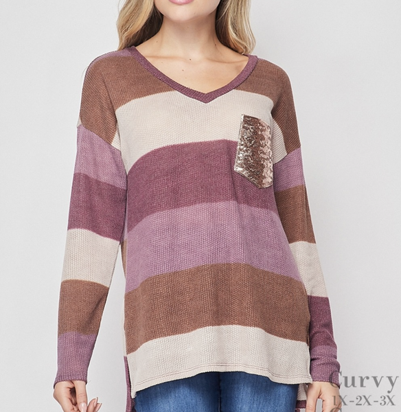 Long Sleeve V Neck Striped Top with Sequin Pocket