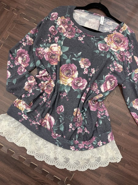 Long Sleeve Rose Floral Top with Bottom Lace Detail