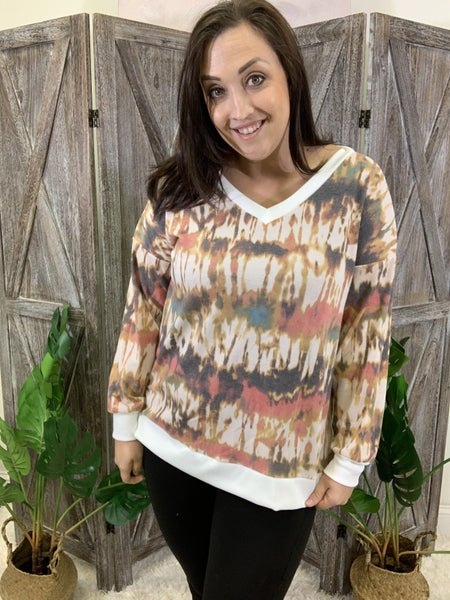 Long Sleeve V Neck Autumn Tie Dye Top