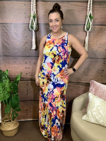 Spaghetti Strap Abstract Floral Maxi Dress