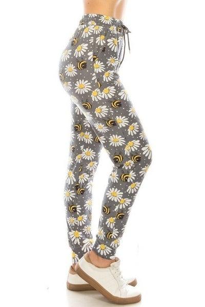 Leggings Material Daisy & Honeybee Printed Joggers