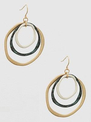 Tri Hammered Metal Open Round Shape Drop Earrings