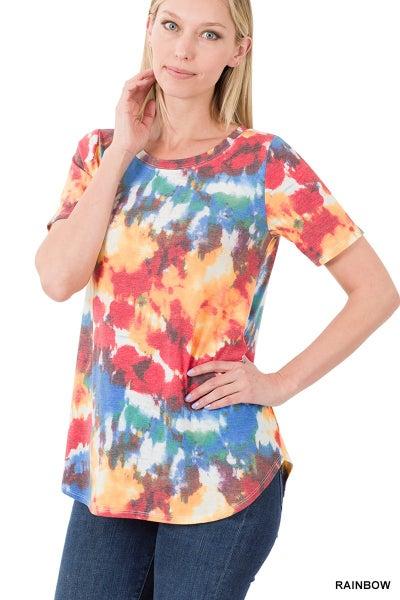 Tie Dye Short Sleeve Round Hem Top