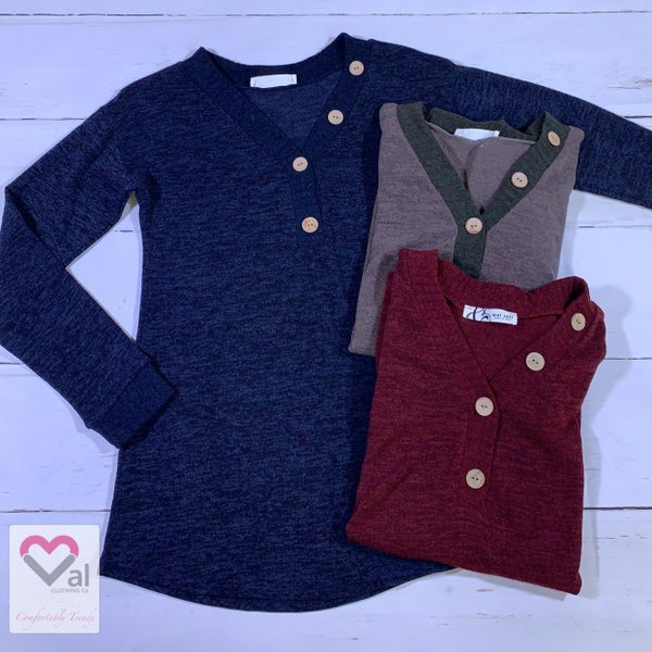 Long Sleeve Solid Contrast Button V Neck Top