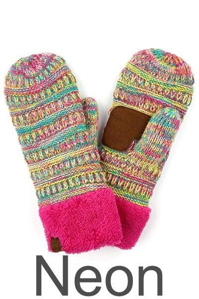 CC Four-Tone Knit Mitten Gloves