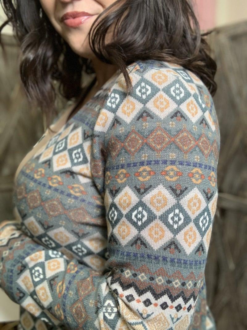 Long Sleeve Aztec Open Front Cardigan