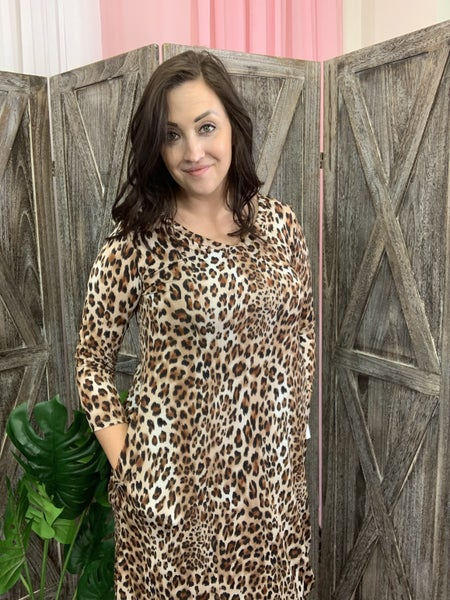 3/4 Sleeve V Neck Leopard Print Dress with Pockets