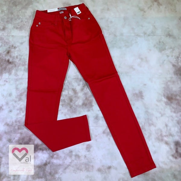 Judy Blue High Waist Solid Red Skinny Jeans