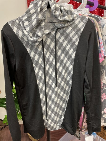 Long Sleeve Solid and Plaid Hoodie Top