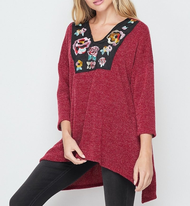 3/4 Sleeve Solid Top with Embroidery Neckline Detail