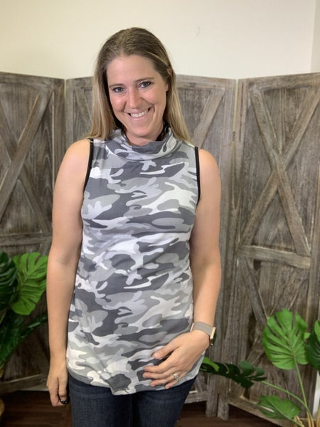 Sleeveless Camo Top with Attached Covering