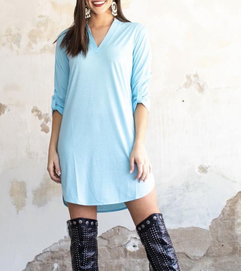 3/4 Sleeve Mock V Neck Solid Dress