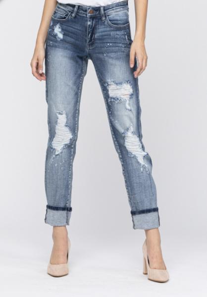 Judy Blue Mid Rise Bleach Splatter Boyfriend Jeans