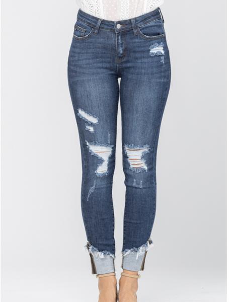 Judy Blue Asymmetrical Hem Cuffed Skinny Jeans