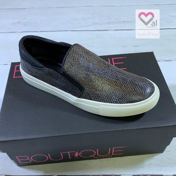 Corkys Slip On Black Snakeskin Shoes