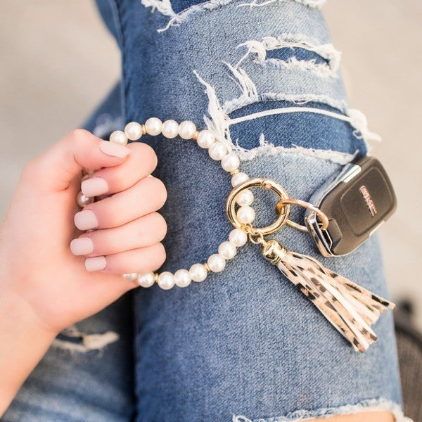 Pearl & Tassel Keychain Ring Bangle