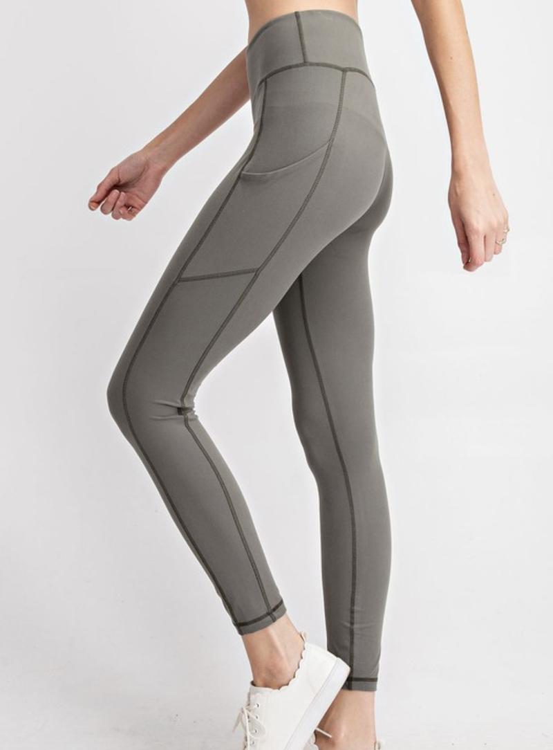 Solid Grey Sage Pocket Leggings