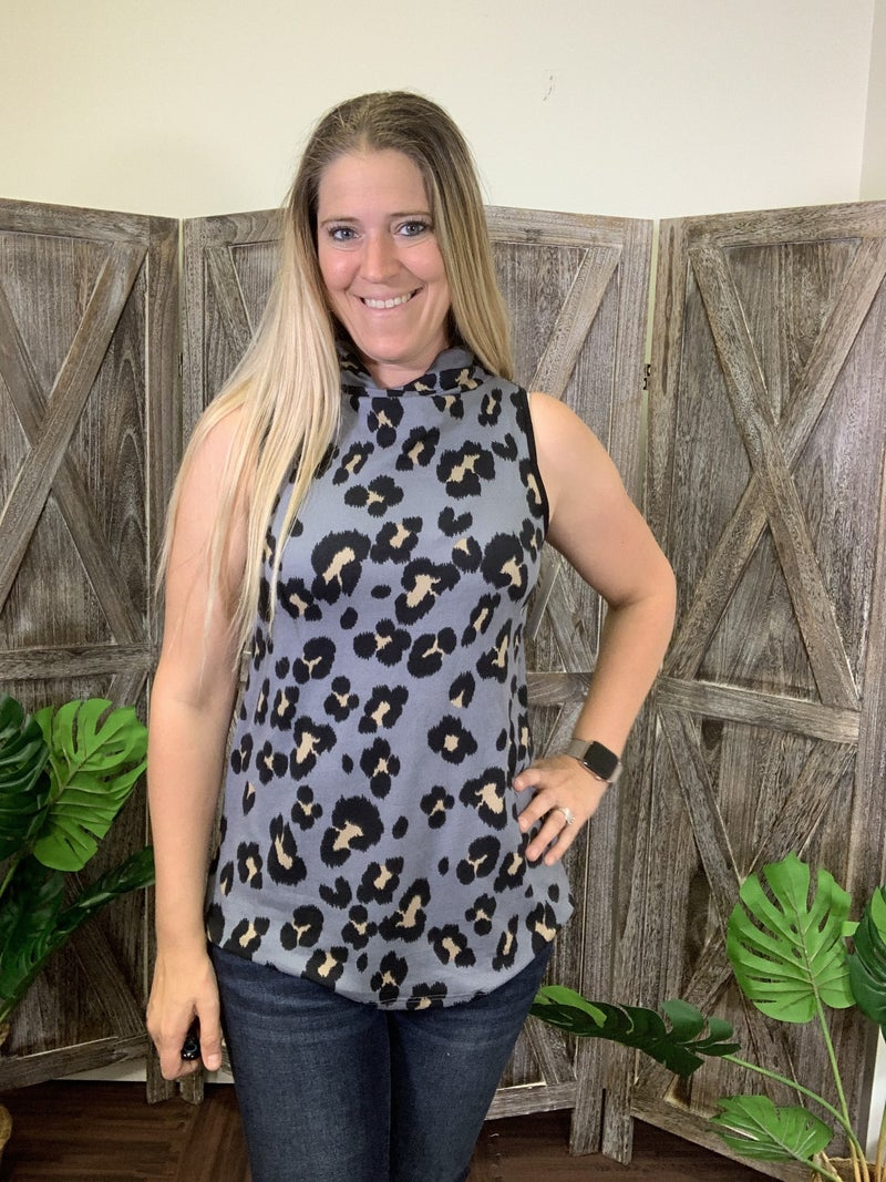 Sleeveless Cartoon Leopard Top with Attached Covering